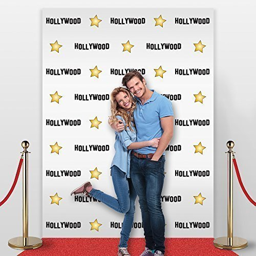 Hollywood Star Themed Step and Repeat Backdrop for Red Carpet Events, Party Backdrop, Photo Background, Celebrity Birthday Banner; Fabric, not Plastic. Non-glare, No Creases from Folding! -