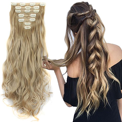 [3-5 Days Delivery 7Pcs 16 Clips 24 Inch Wavy Curly Full Head Clip in on Double Weft Hair Extensions] (Synthetic Hair Weft)