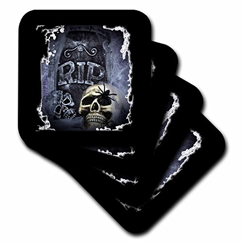 3dRose cst_28314_4 Grave Marker and Skull Halloween Skull Design-Ceramic Tile Coasters, Set of 8 ()