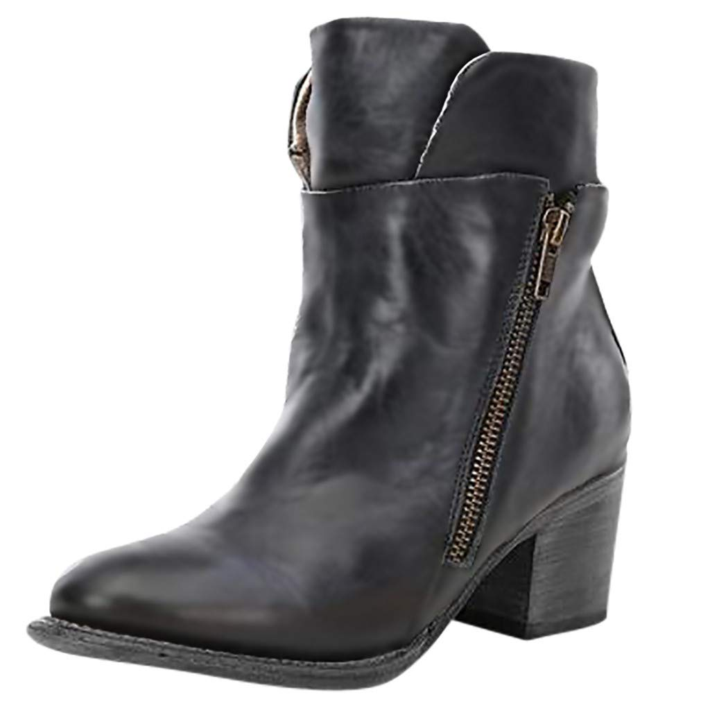 Womens Squared Toe Booties Chunky Block Heel Zipper Casual Shoes Combat Ankle Boots by SNOWSONG