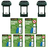 Thermacell MR-9L Outdoor Mosquito Repellers/Lanterns (3) & Six Refill Packs Bundle (36 Mats, 12 Cartridges)