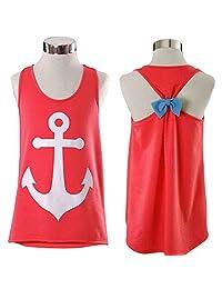 SlickBlue Womens Sleeveless Boat Anchor Tank Top Back Bowknot T-Shirt Blouse