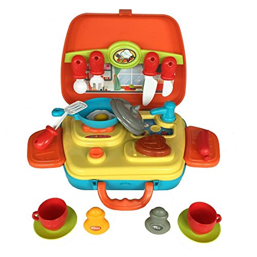 Kitchen Playset Toys Pretend Play Kit Set Role Play with Plastic Carry Box Utensils knife for Kids Toddlers Girls Boys 3 4 5 6 Years Old