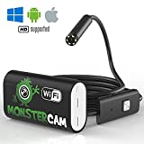 Endoscope Camera by MonsterCam - 2.0 MP Borescope, Inspection camera HD, Waterproof Snake Camera for iOS Smartphone, iPhone, Windows, Android - Included Magnet, 90 Degree Mirror&Hook