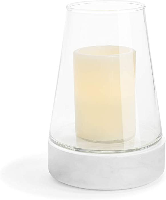 Glass Hurricane Candle Holder with Marble Base - 7.5 Inch Height, Modern Style for Wedding Centerpieces, Housewarming Gift or Home Decor, Medium, Fits Up to 3 Inch Diameter Pillar Candles