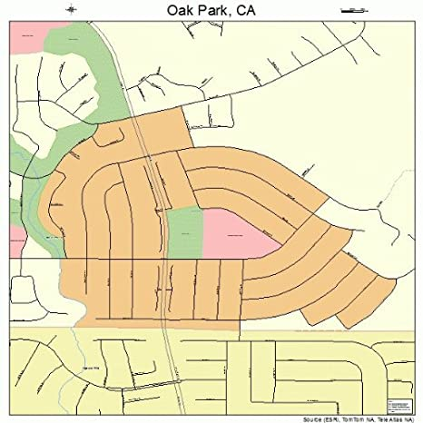 Oak Park California Map.Amazon Com Large Street Road Map Of Oak Park California Ca
