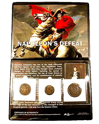 - 1815 No Mint Mark Napoleon's Defeat, A Three-Coin Album,Story And 19mm Seller Genuine