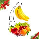 "Christmas Gift Fruit Tree Bowl with Removable Banana Hanger Decorative Fruit Basket 10"" x 14"" Large Capacity Fruit Stand Holder for Durable Storage Premium Chrome Brushed Iron Fruit Container"
