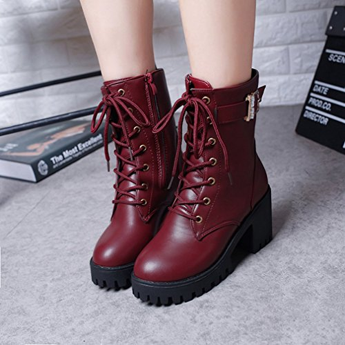Gugutogo Vintage Women Boots England Style Fashion Lace-up Chunky Heel Martin Boots pGQn3lUSu7