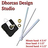 Dhorcas (#04) 3/4'' Threaded Motor and White 5'' Hands and Hanger, Quartz Clock Movement Kit for Replacement