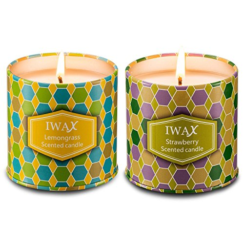 iwax Scented candles Lemongrass and Strawberry 7 Oz Sustainable Vegan Natural Soy Travel Tins Candles by, Set Gift of 2