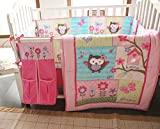 NAUGHTYBOSS Girl Baby Bedding Set Cotton 3D Embroidery Owl Bird Quilt Bumper Bedskirt Fitted Urine bag 8 Pieces Set Pink Color