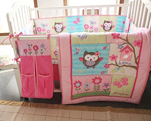 NAUGHTYBOSS Girl Baby Bedding Set Cotton 3D Embroidery Owl Bird Owl TreeTrunk Homes Quilt Bumper Bedskirt Fitted 7 Pieces Pink by NAUGHTYBOSS