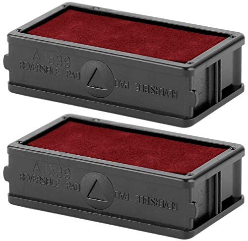 Set Ink Refill (ExcelMark A1539 Self Inking Stamp Ink Refill - Red - Set of 2 Double Sided Pads)