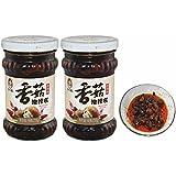 Lao Gan Ma Chilli Sauce, XiangGuYouLaJiao 210g (Chilli Mushroom Sauce, Pack of 2)