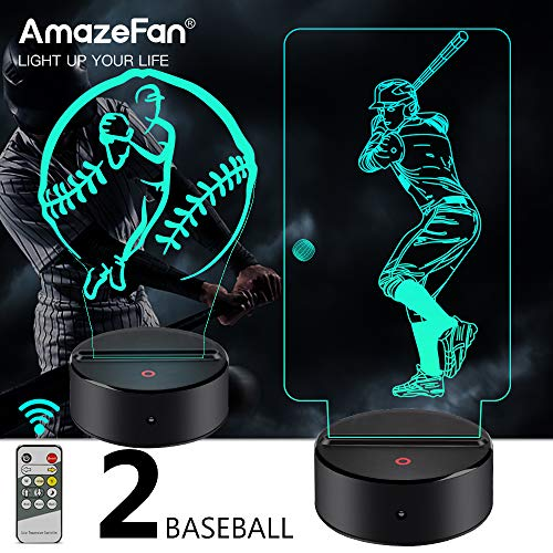 Baseball Gifts For Boys (AmazeFan Baseball Night Light for Kids - 3D Baseball Night Lamp 7 Colors Optical Illusion Touch & Remote Control with 2 Acrylic Flats Best Birthday Christmas New Year Gifts for)