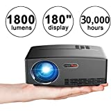 """Video Projector, VPRAWLS 1080P Full HD Portable Multimedia Projector 1800 Lumens 180"""" LED Mini Movie Projector for Home Cinema Theater Entertainment"""