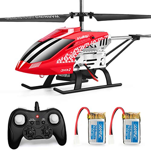 Helicopter with Remote Control, JJRC JX01 Helicopter 3.5CH Altitude Hold Helicopter with 2Batteries for Kids, Gyro 2.4GHz and LED Light for RTF Crash Resistance Helicopter RC Drone Toy Gift (Red) (Fast Remote Control Helicopter)
