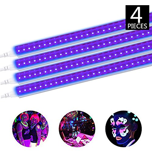 Brillihood LED UV Black Light Fixture, 10W, 2FT T5 Integrated Tube lamp, Fluorescent Blacklight Bulb for Poster, Party, Club, Festivals, Led Stage Lighting with Built-in ON/Off Switch, 4-Pack