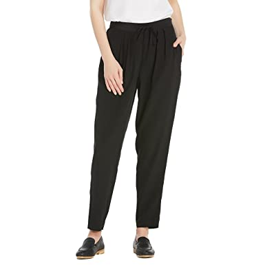 6d4d8f46a1 LilySilk Women's Silk Pants 18MM Pleat Front Harem Ladies Comfortable  Trousers with Adjustable Drawstring Black at Amazon Women's Clothing store: