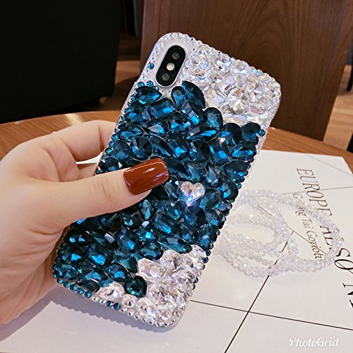 crystal_phonecase Bling Sparkly Handmade Rhinestone Jewelled Crystals Diamond Clear Case Cover for Apple iPhone 4/4s 5c 5/5s/SE 6/6s 6/6sPlus 7/8 7/8Plus X (Blue/White Crystal, iPhone X) (Iphone 4s Jeweled Wallet Case)