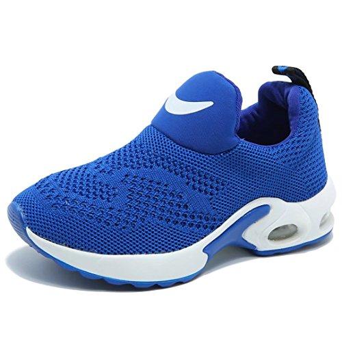 BODATU Kids Boys Running Shoes Comfortable Fashion Light Weight Slip on Cushion(10, Blue) - Image 1