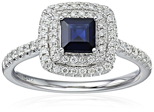 14k White Gold Sapphire and White Diamond Engagement Ring (1/3cttw, H I Color, I2 Clarity), Size 7