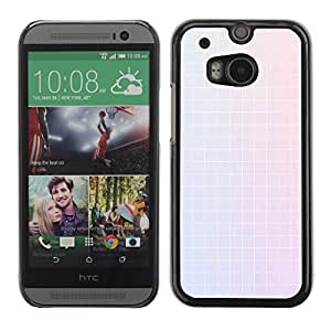 MOBMART Carcasa Funda Case Cover Armor Shell PARA HTC One M8 - White Colored Tile Pattern