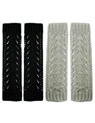 kilofly Fingerless Gloves Arm Warmers Value Pack [Set of 2 Pairs] - Grey, Black