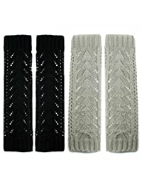 kilofly Fingerless Gloves Arm Warmers Value Pack [Set of 2 Pairs] - Grey, Black