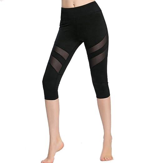 0016fd956b93e Amazon.com: Snowfoller Sexy Women Skinny Leggings Mesh Trouser Gym Workout  Fitness Capris Pants Patchwork Athletic Trouser: Clothing