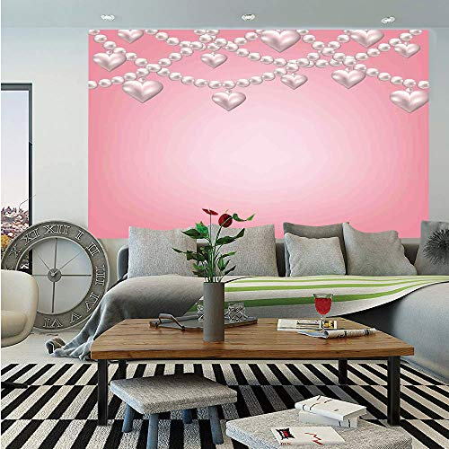 Pearls Decor Huge Photo Wall Mural,Heart Pearl Necklace Design Vintage Style Accessory Love Celebrating Artwork Print Decorative,Self-adhesive Large Wallpaper for Home Decor 100x144 inches,Beige Pink (Illusion Style Necklace)