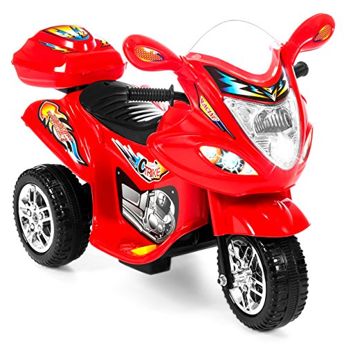 Best Choice Products Kids Ride On Motorcycle 6V Toy Battery Powered Electric 3 Wheel Power Bicyle, Red (Toy Car Racer Pedal)