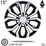 New Design 15 inch ABS Plastic Hubcaps Spyder Performance Black and Mat Silver Wheel Covers Hub Cap Full Lug Skin Set 553 with Air Freshener