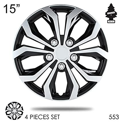 Amazon.com: Yupbizauto 15 inch ABS Plastic Hubcaps Spyder Performance Black and Mat Silver Wheel Covers Hub Cap Full Lug Skin Set 553 with Air Freshener: ...