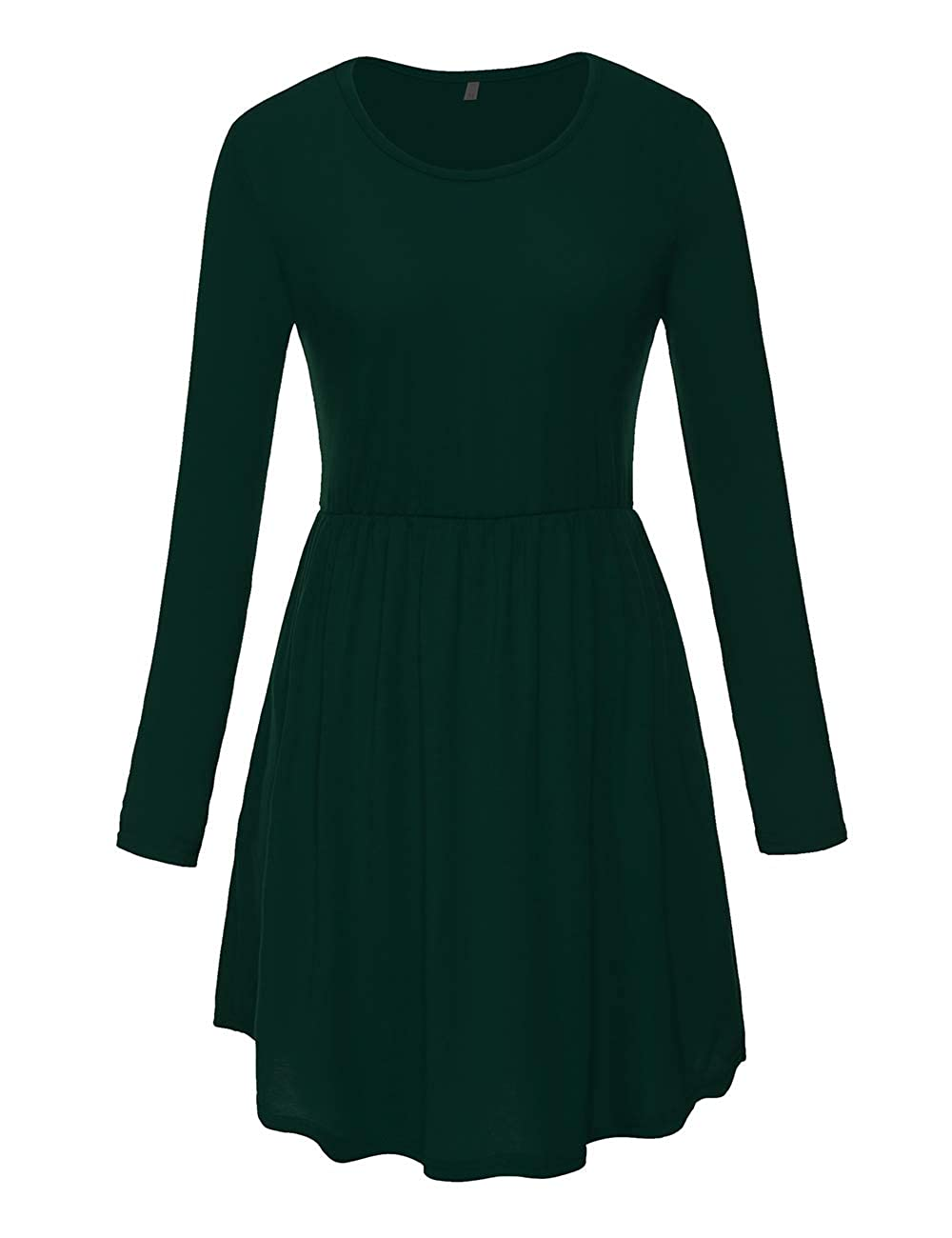1green Long Sleeve CROSS1946 Women's Racerback Pleated Sundress Elastic Waist Flowy Curved Hem TShirt Dress Pockets