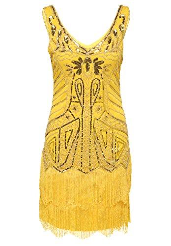 [BABEYOND Women's Flapper Dresses 1920s V Neck Beaded Fringed Great Gatsby Dress (Small, Yellow)] (Dress 1920s)