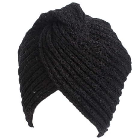 Ssowun Cappello turbante Lana calda inverno donna Berretto indiano Cappuccio  incrociato bd47bf370b0f