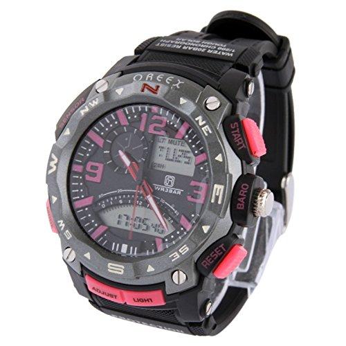 Dual Display Watch Reloj Digital/Reloj Deportivo (Color : Rosa)