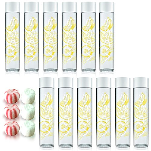 Voss Artesian Sparkling Water Lemon Cucumber Sparkling Flavored Water 375 ml including Jummybo custom mints - 12 Pack Voss Water