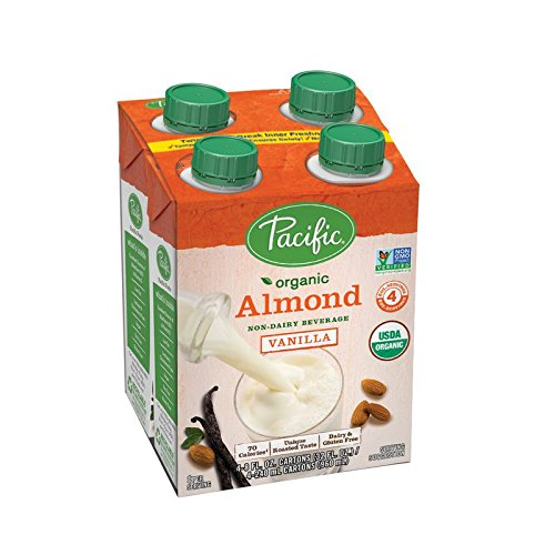 Pacific Foods Organic Almond Non-Dairy Beverage, Low Fat Vanilla, 8-Ounce, (Pack of 24)