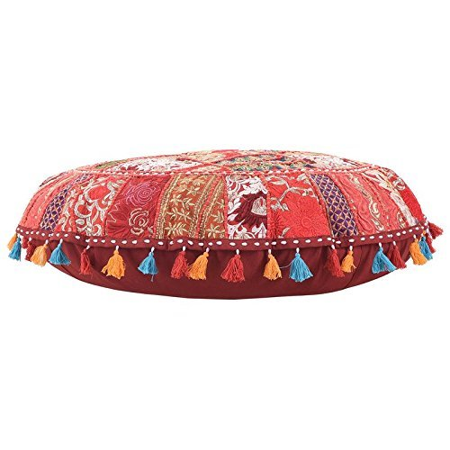 ANJANIYA 32'' Beautiful Bohemian Round Indian Patchwork Pouffe Indian Traditional Home Decorative Handmade Cotton Ottoman Patchwork Foot Stool Floor Cushion Embroidered Decorative Vintage (Red) by ANJANIYA