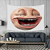 smallbeefly Humor Wall Hanging Tapestries Poker Face Guy Meme Laughing Mock Person Smug Stupid Odd Post Forum Graphic Large tablecloths 84''x54'' Peach and Pearl
