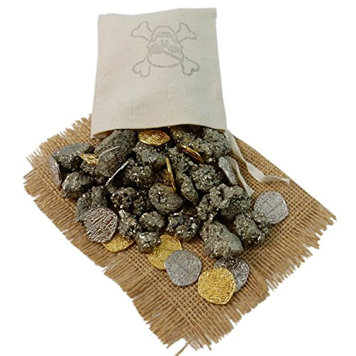 ONE (1) Pirate Booty Pouch filled with Pyrite and Metal Pirate Treasure Coins - Shiny Gold and Silver Doubloon Replicas (Treasure Of The Sea Costumes)