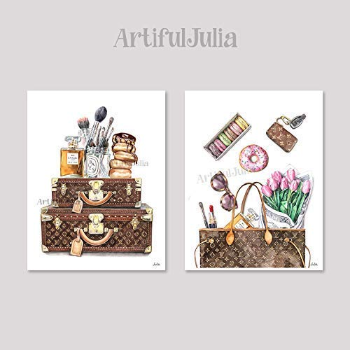 Louis Vuitton fashion art print of watercolor painting, 2 prints of 11