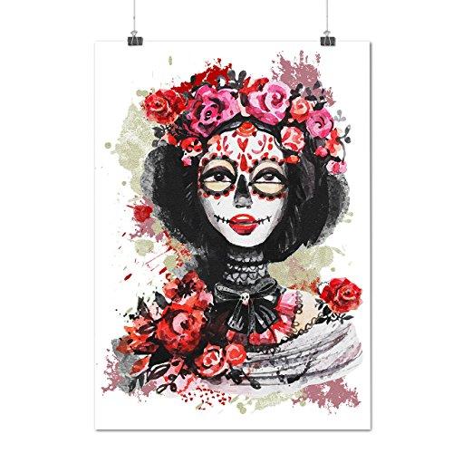 [Skull Devil Costume Flower Rose Matte/Glossy Poster A2 (17x24 inches) | Wellcoda] (Purge Costume Uk)