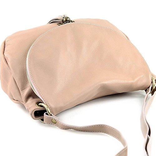 à Italie cuir fabriqué OLGA compartiments fermeture de Sac épaule bandoulière en portés à sacs glissière à avec clair rose deux vachette UOgqwYU
