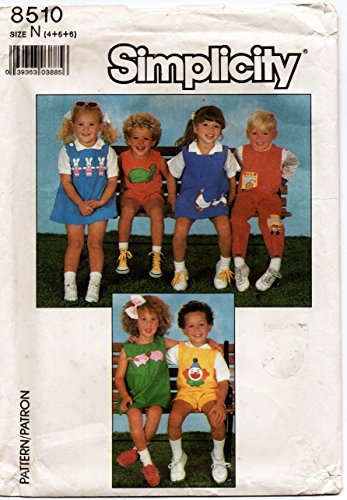 (Simplicity Pattern 8510 Children's Overalls, Shortalls, Jumper with Applique Designs Sizes 4-5-6)