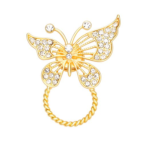 CHUANGYUN Rhinestone Butterfly Braided Wire Safety Strong Mangetic Brooch Eyeglass Frame(Gold) (Rhinestone Eyes Brooch)