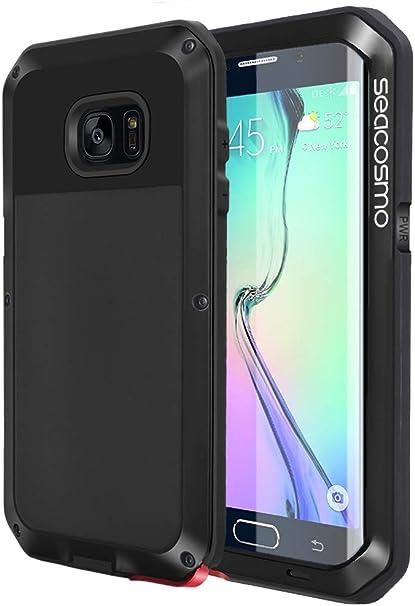 seacosmo Funda Samaung Galaxy S6 Edge, [Rugged Armour] Carcasa Anti-Polvo Heavy Duty de Aleación de Aluminio a Prueba de choques Case para Samsung S6 Edge (Sin Protector de Pantalla), Negro: Amazon.es: Electrónica